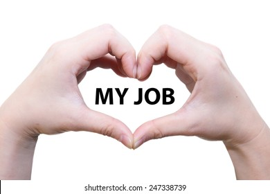 isolated female hand love my job