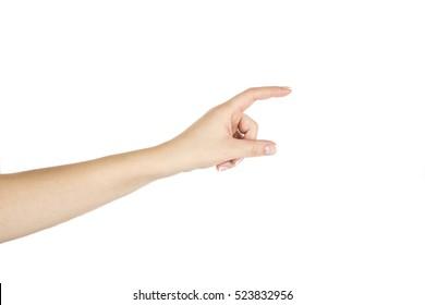 Isolated female hand on white background.