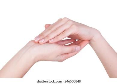 isolated female hand showing symbol
