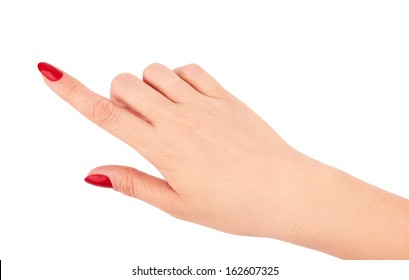 Isolated female hand touching something on a white