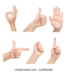 Isolated female hands express different emotions