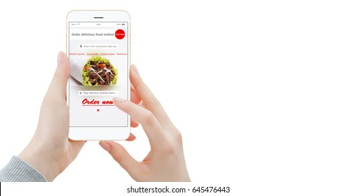Isolated female hands ordering food on modern smartphone