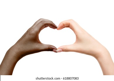 Isolated female hands show heart on white background.