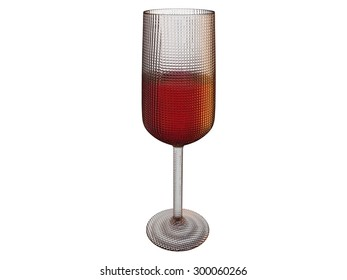 isolated filled glass 3d render on white background
