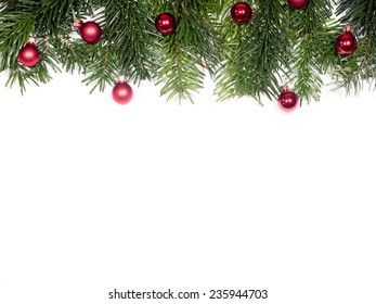 isolated Fir branches with Christmas tree balls