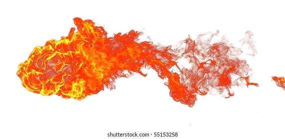 Isolated fire on a white background