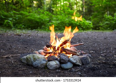 Isolated fireplace with camp fire in nature with green background. Rocks around the fireplace. Protected fire in the nature. Isolated