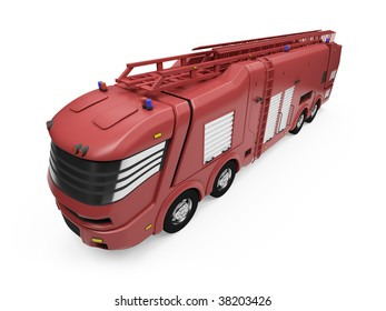 Isolated firetruck over white background