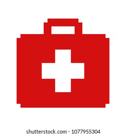 Isolated First aid kit bag icon; Pixel art