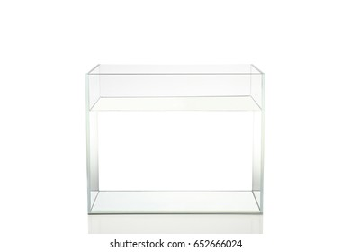 Isolated fish tank with fresh water on white background