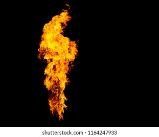 Isolated flame column. Narrow fire goes from flamethrower