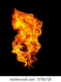 Isolated flame on black background