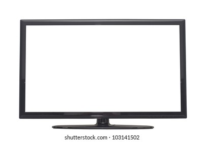 isolated flat screen tv, or computer monitor with 2 clipping path in jpg. One clipping path is tv outline, the other one is the screen.