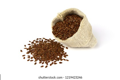 Isolated Flax Seed in Linen Sack (Flaxseed, linseed).