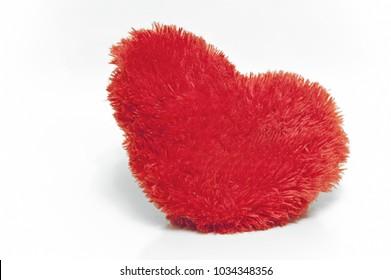Isolated fluffy plush heart
