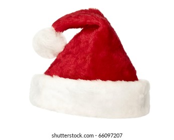 isolated fluffy red Santa`s hat over white