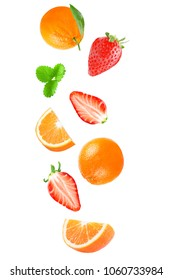 Isolated flying fruits. Falling fruit isolated on white background with clipping path as package design element and advertising.