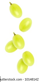 Isolated flying grapes. Falling grape fruits isolated on white background, with clipping path