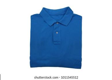 isolated folded blue polo shirt on white background