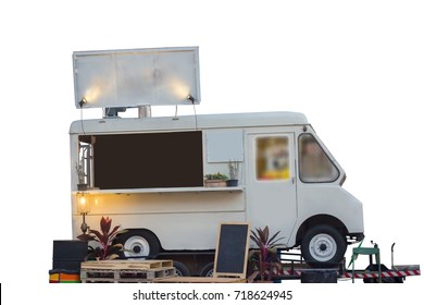 isolated Food truck on blue sky with clipping path