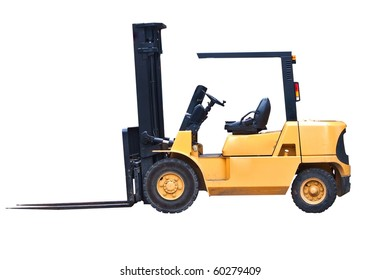 an isolated fork lift truck on white background