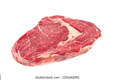 Isolated Fresh Beef Rib eye steak on white background.