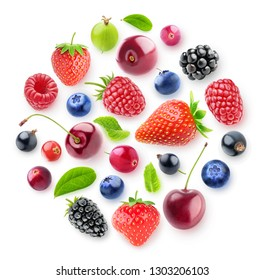 Isolated fresh berries in a circular composition. A group of strawberry, cherry, blackberry and other fresh berries isolated on white background with clipping path