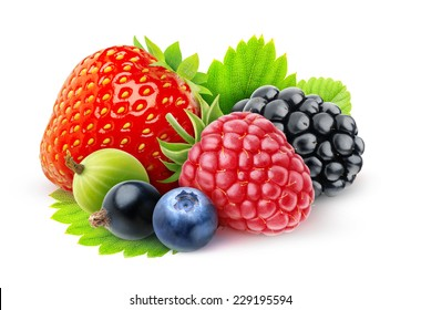 Isolated fresh berries. Strawberry, blackberry, raspberry, black currants, blueberry gooseberry isolated on white background, with clipping path