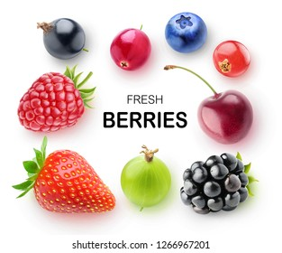 Isolated fresh berries. Strawberry, raspberry, blackberry, blueberry, cranberry, cherry, gooseberry and currants isolated on white background with clipping path