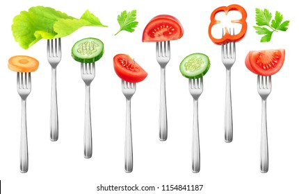 Isolated fresh salad vegetables. Pieces of tomato, cucumber, red bell pepper, carrot and lettuce on a fork isolated on white background with clipping path