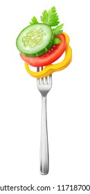 Isolated fresh vegetables. Pieces of tomato, cucumber and yellow bell pepper (salad ingredients) on a on a steel fork isolated on white background with clipping path