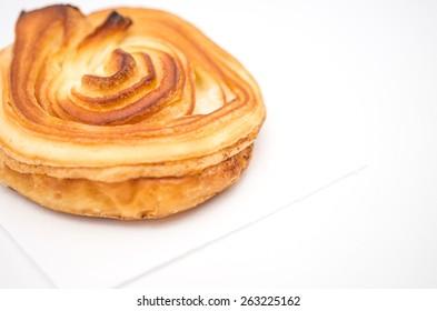 Isolated freshly baked soft bun on white background