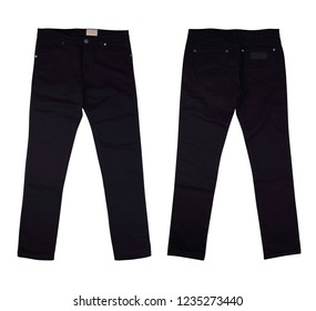 Isolated front and back black jeans