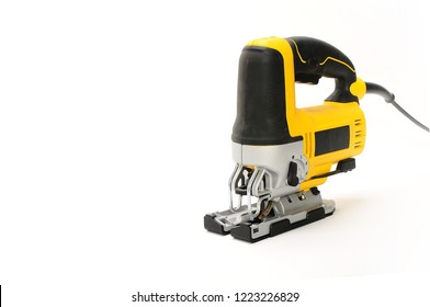 Isolated front side 1 electric jig saw on a white background