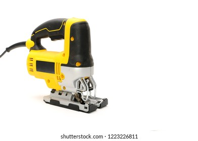 Isolated front side 2 electric jig saw on a white background