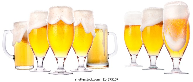 isolated  Frosty glass of beer set on a white background