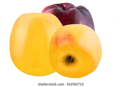Isolated fruit. One red and two yellow apples isolated on white background with clipping path as a package design element