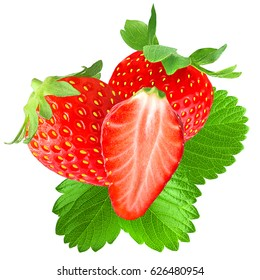 Isolated fruit. Two strawberries and half with leaf isolated on white background as package design element.