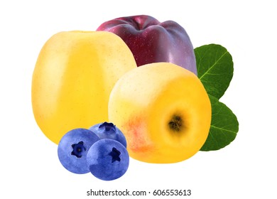 Isolated fruits. Isolated bilberry and Apple on white background with a clipping path as package design element. Healthy eating. Food photography.