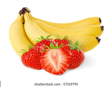 Isolated fruits. Bunch of bananas and pile of strawberries on white background
