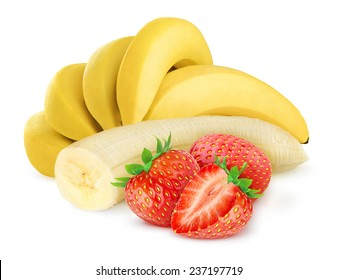 Isolated fruits. Bunch of bananas and several strawberries over white background, with clipping path