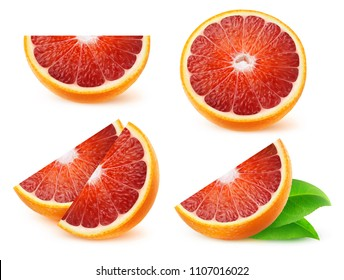 Isolated fruits collection. Pieces of sicilian oranges isolated on white background with clipping path