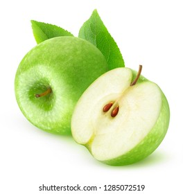 Isolated fruits. Cut green apples isolated on white background with clipping path