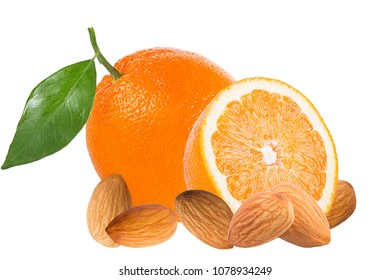 Isolated fruits. Fresh oranges and almonds isolated on white background with clipping path as packaging design element.