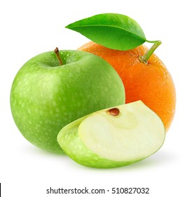 Isolated fruits. Green apple and orange isolated on white background with clipping path