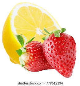Isolated fruits. Half of lemon and two strawberries isolated on white background, with clipping path
