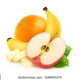 Isolated fruits. Half of red apple, cut banana and orange isolated on white background with clipping path