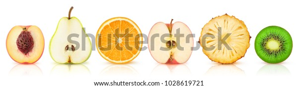 Isolated fruits halves. Cut peach, pear, orange, apple, pineapple and kiwi in a row isolated on white background with clipping path