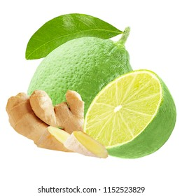 Isolated fruits. Lime and ginger isolated on white background with clipping path as package design element.