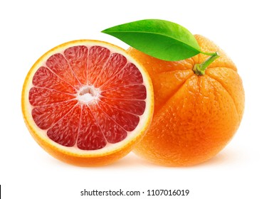 Isolated fruits. One and half blood oranges isolated on white background with clipping path